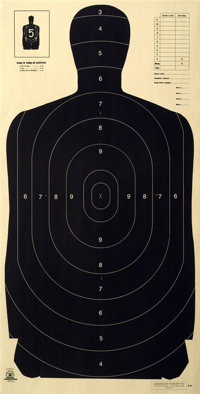 Law Enforcement silhouette target Style Body with Score Rings to the 3 Ring
